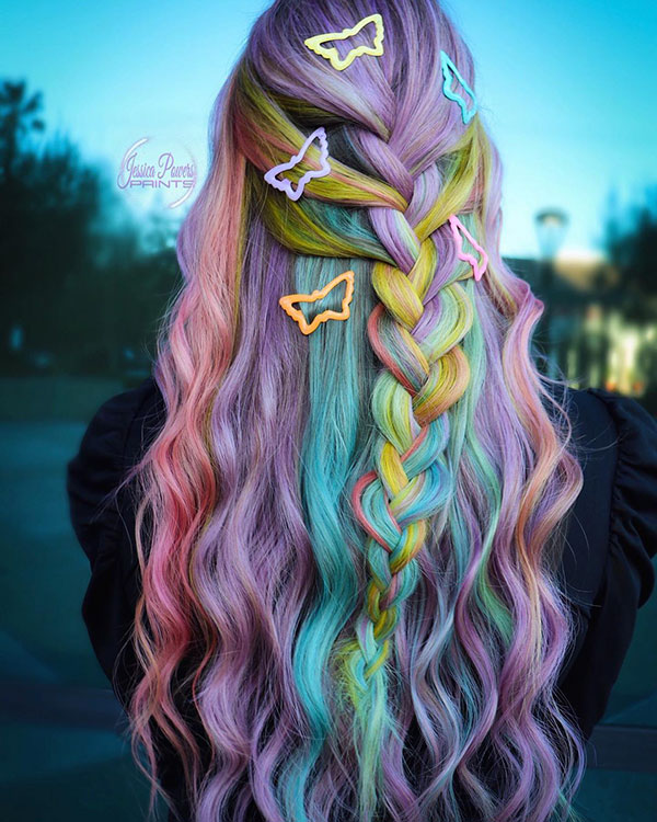 Long Vibrant Hair Color
