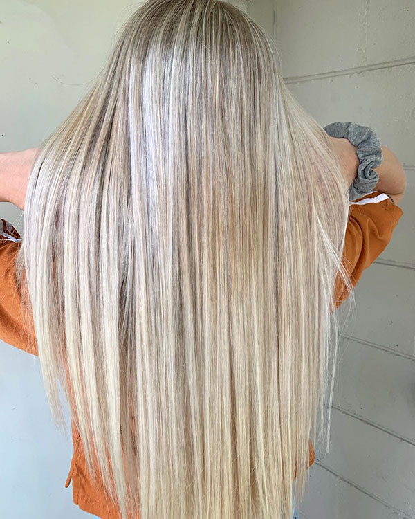 Long Bleached Hair Color